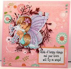 This adorable image is Julie's Smile from High Hopes Rubber stamp. High Hopes, Happy Things, Stamps, Smile, Cards, Inspiration, Design, Stamp
