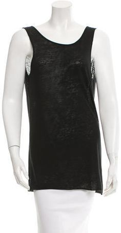 Black Helmut Lang sleeveless top with scoop neck and scoop back featuring draping detail. Helmut Lang, Basic Tank Top, Scoop Neck, Style Inspiration, Tank Tops, Stylish, Fashion Design, Outfits, Shopping