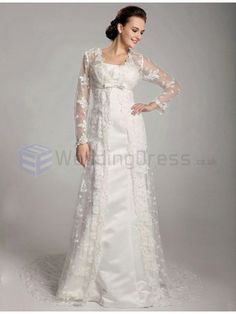 A-line Strapless Satin Lace Floor-length Wedding Dress