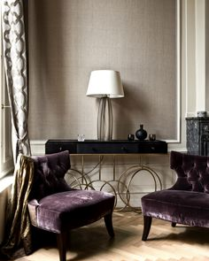 plumb purple and beige modern design inspiration work corner apartment decor inspiration sitting office reading nook luxurious bedroom velvet chairs high ceilings