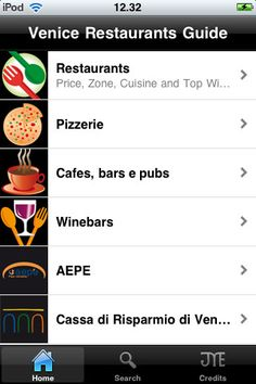 """Venice Restaurants Official Mobile Guide"" - Language: English - ""Venice Restaurants Official Mobile Guide"" is the most complete guide to restaurants in Venice and its Province. The application wants to emphasizes the traditional Venetian cuisine, its recipes, tastes and flavours, scrupulously preserved and handed down from generation to generation by great resaurateurs who have became true interpreters of the culture of food in the world. Restaurants are classified by zone and by price."