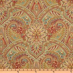 Waverly Swept Away Paisley Berry from @fabricdotcom  Screen printed on a cotton/linen blend this medium weight fabric is very versatile. This fabric is perfect for window treatments (draperies, valances, curtains, and swags), bed skirts, duvet covers, pillow shams, accent pillows, tote bags, aprons, slipcovers and upholstery. Colors include teal, golden yellow, coral, ivory, cream and coral red.