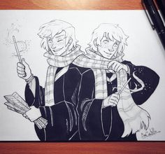 Inktober day 27! Fred and George Weasley from Harry Potter :D Mischief managed!!