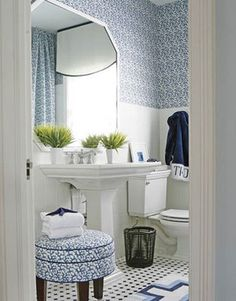 Pretty bath  The Enchanted Home: 35 reasons why I love decorating with blue and white