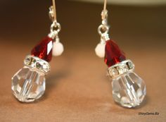 HoHoHo Santa is Coming Swarovski crystal earrings, Holiday Jewelry, Christmas Jewelry, Winter jewelry, SS lever back earrings. $24.00, via Etsy.