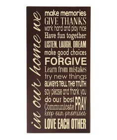 Brown 'In Our Home' Wall Sign #zulily #zulilyfinds