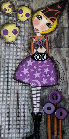 BOO witch party girl Halloween Pendant Art to by Southendgirlart, $18.00