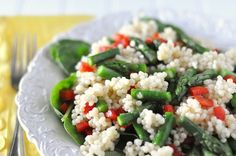 Asparagus & red pepper couscous salad. I will thrown in some chickpea.