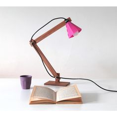 wooden desk lamp Johan ($125) ❤ liked on Polyvore featuring home, lighting, desk lamps, wooden lamp, simple &amp clean designs, scandinavian design lamps, scandinavian design, new lighting, modern and laser cut