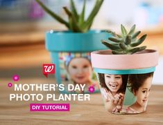DIY Photo Planter   Creative DIY Mother's Day Gifts Ideas   Thoughtful Homemade Gifts for Mom. Handmade Ideas from Daughter, Son, Kids, Teens   Unique, Easy, Cheap Do It Yourself Crafts To Make for Mothers Day, complete with tutorials and instructions http://thrillbites.com/diy-mothers-day-gift-ideas