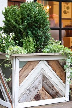 DIY reclaimed wood planter boxes.