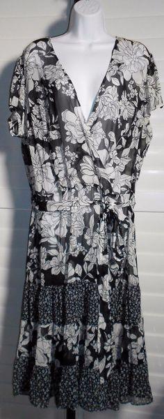 Fashion Bug Black/White Sheer Belted Floral Sheer Casual Dress Sz 20W   eBay