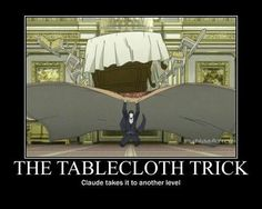 The tablecloth trick: Claude takes it to another level, funny, text, Claude Faustus; Black Butler