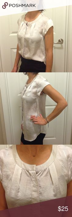 Silky, Ivory Armani Exchange Work Blouse This feminine top looks professional tucked in or out. Comes with satin belt. A/X Armani Exchange Tops Blouses