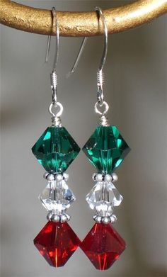 Red Green Crystal Christmas Holiday Earrings Made With Swarovski Elements