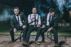 Groom best man groomsmen - Country wedding photography - tom halliday photography - uk wedding photography - landscape photography - night time photography – sky photography – cigar photography
