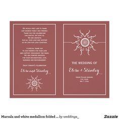 Elegant marsala and white medallion folded #wedding ceremony and party #program