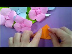 折り紙 「あじさい」の折り方 How to make origami hydrangea - YouTube