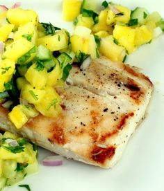Grilled Mahi Mahi with Pineapple Cucumber Salsa