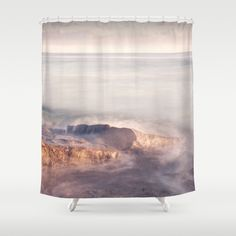 Pink Shower Curtain Ocean Purple Bathroom Decor Pale
