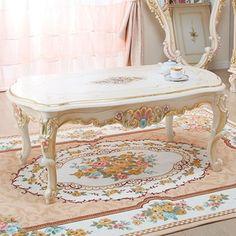 ロココ調デザイン猫足家具 5: センターテーブル - 拡大画像