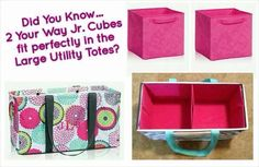 Thirty-One Gifts - 2 Your Way Junior Cubes fit in a Large Utility Tote? Who Knew! Keep your LUT standing tall and organized perfectly! Thirty One Uses, My Thirty One, Thirty One Gifts, Thirty One Organization, Organizing Utility Tote, Closet Organization, Diy Organisation, Large Utility Tote, Large Tote