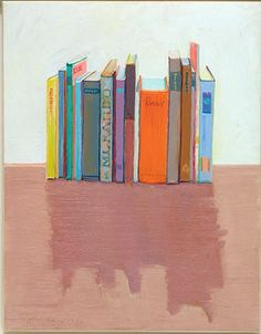 TITLE:  	Vertical Books  	ARTIST:  	Wayne Thiebaud  	WORK DATE:  	1992  	CATEGORY:  	Paintings  	MATERIALS:  	Oil on paper mounted on canvas  	SIZE:  	h: 23 x w: 17.8 in / h: 58.4 x w: 45.2 cm  	REGION:  	American  	STYLE:  	Contemporary