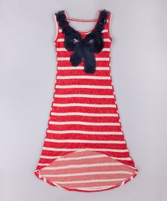 Look at this Red & White Stripe Bow Hi-Low Maxi Dress - Toddler & Girls on #zulily today!