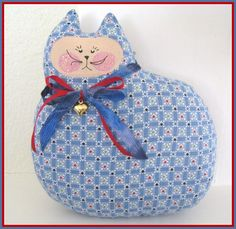 CAT Pillow Doll Cloth Doll 7 inch Blue & White by CharlotteStyle, $10.00