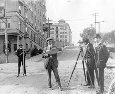 USC civil engineers in 1914 on the corner of Olive Street and Fourth Street in downtown Los Angeles.