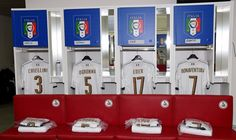 Italy dressing room prior to the international friendly match between Italy and France at Stadio San Nicola on September 1, 2016 in Bari, Italy.