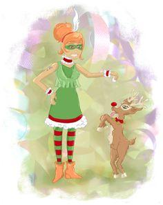 Christmas elf and reindeer