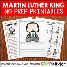 Martin Luther King Jr Day in kindergarten can be tricky! Kids are so innocent and so literal, it can be tricky but #SimplyKinder can help! This set of printables will help you explain the concepts (and give you some literacy and math printables to go along!).