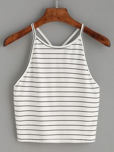 Shop White Striped Y Back Cami Top online. SheIn offers White Striped Y Back Cami Top & more to fit your fashionable needs.