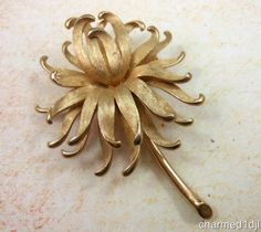 Vintage KRAMER Brushed Gold Tone Flower Brooch Pin Layered 3-D #Kramer SOLD