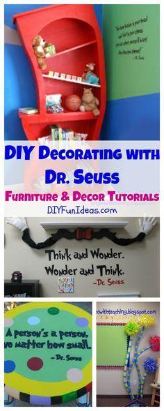 DIY Decorating With Dr. Seuss: Dr. Seuss Furniture & Decor Tutorials............................................................. Tons more fun DIYs at DIYFUNIDEAS.COM