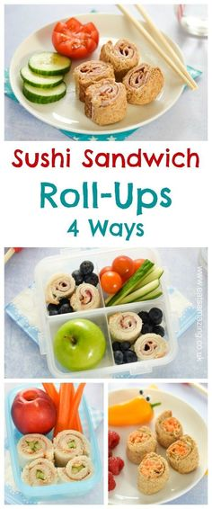 4 quick and easy sushi sandwich roll-ups for kids - fun school lunch box ideas and perfect for bento boxes too - Eats Amazing UK Sandwich Roll Ups Recipe, Sushi Sandwich, Roll Ups Recipes, Sandwich Fillings, Sandwich Ideas, Sushi Rolls, Healthy School Lunches, Healthy Snacks, Diet Snacks