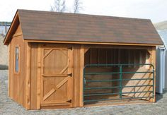 For the horseman on a budget, this run-in-shed-turned-stall is an excellent option. An attached tack room or grain storage area keep everything close at hand in an area that needn't be more than about 16x12' for one horse.