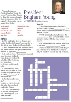 LDS Games - Crossword Puzzles - Brigham Young Young Women Activities, Primary Activities, Church Activities, Lds Church, Church Ideas, Brigham Young, Doctrine And Covenants, Family Home Evening