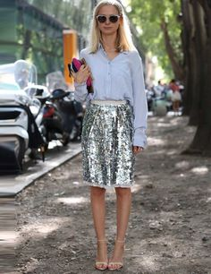 How to wear sequins during the day? Pair it with casual & traditionally masculine Pieces like a jeans shirt or ribbed tank. #fashion