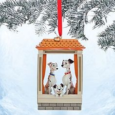 Disney Pongo, Perdita and Lucky Sketchbook Ornament - 101 Dalmatians | Disney StorePongo, Perdita and Lucky Sketchbook Ornament - 101 Dalmatians - Your holiday decorating will be spot-on with this fully sculptured scenic ornament inspired by <i>One Hundred and One Dalmatians</i>. Pongo, Perdita and Lucky Pup look out on the festivities from their London windowsill.