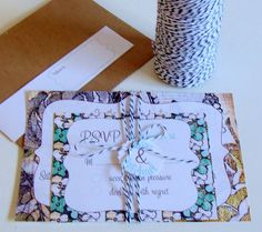 Liking the different patterns & the bakers twine for the  wedding invites