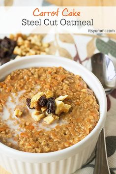 Carrot Cake Steel Cut Oatmeal recipe from @itsyummi