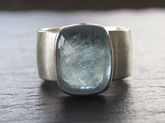 Aquamarine Ring on recycled sterling wide band by erinjanedesigns