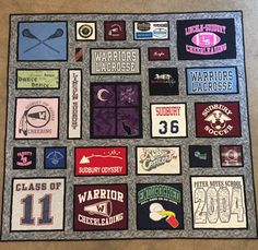 Custom t-shirt quilt for college graduation. Favorite colors are black,grey and purple. Center block has custom embroidery to incorporate customers love of crescent moons,black cat and a favorite quote. Scrappy Quilts, Easy Quilts, Baseball Quilt, Jersey Quilt, Keepsake Quilting, Custom Quilts, Quilting Designs, Quilting Ideas, Custom Embroidery