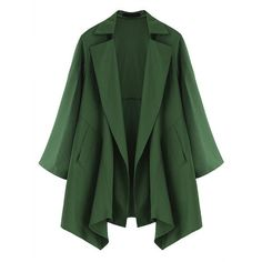 Casual Long Sleeve Lapel Solid Color Jacket For Women ($30) ❤ liked on Polyvore featuring outerwear, jackets, coats, green, long sleeve jacket, lapel jacket, green jacket and evening jackets