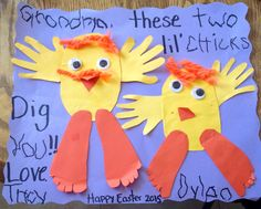 Easy Easter craft. Kids hand and feet prints. Allowed my four year old to trace some of the words. *8x11 yellow and orange construction paper, doubled for thickness.  *12x18ish construction paper for backing *Wiggly Eyes  *Yarn for hair