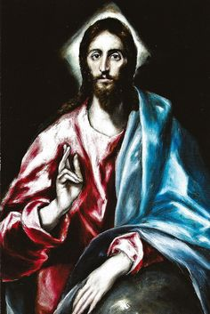 El Salvador -- Christ as Saviour painted by El Greco (Domenikos Theotokopoulos) 1610-14                                                                                                                                                      Más