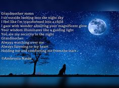 Poetry, Prose, Quotes, Poem, grandmother moon, transformed
