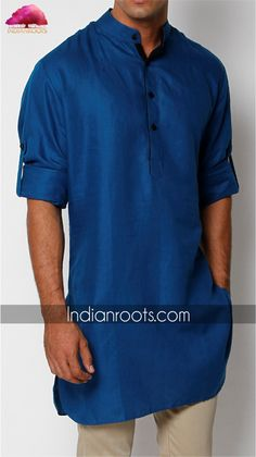 Teal blue cotton linen Kurta by Anshul Rajwansh on Indianroots.com